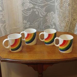 4 vintage rainbow coffee mugs
